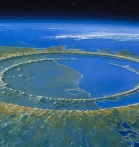 Artist's reconstruction of Chicxulub crater soon after impact, 66 million years ago