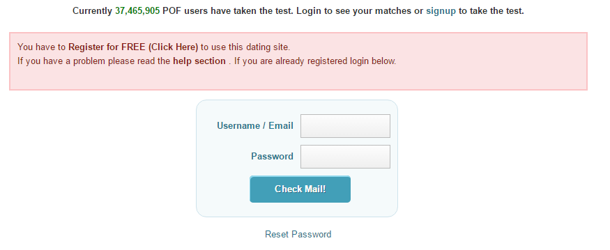 Pof dating site issue